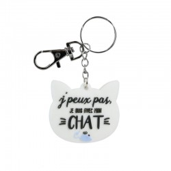 Porte-clés PVC Chat J'Peux Pas Je Suis Avec Mon Chat Blanc
