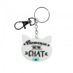 Porte-clés PVC Chat Bienvenue Chez Mon Chat Blanc