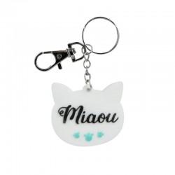 Porte-clés PVC Chat Miaou Blanc