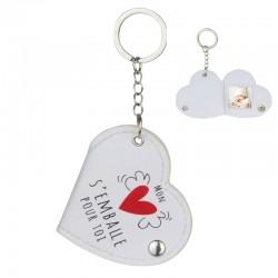 Porte-clés Photo Coeur Mon Coeur S'Emballe Pour Toi