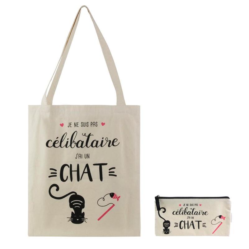 Sac et Pochette en Coton Célibataire Chat