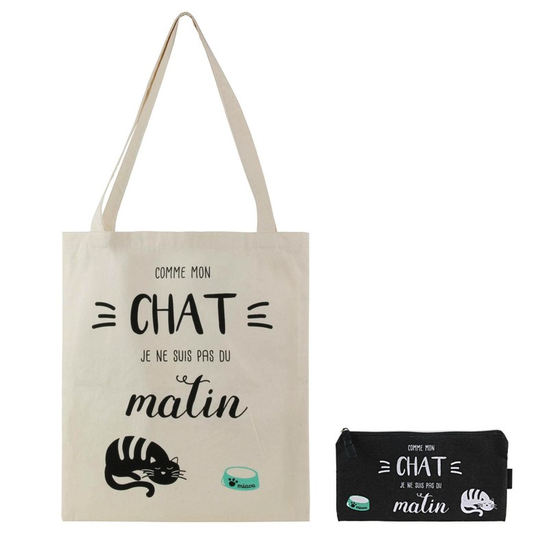 Sac et Pochette en Coton Pas Du Matin Chat