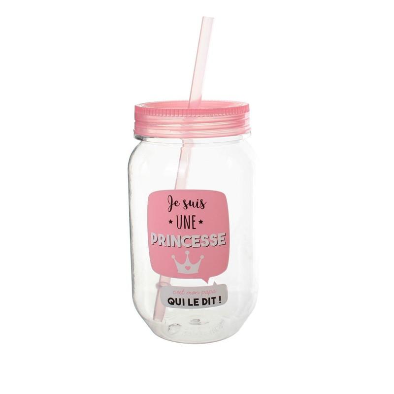 Mason Jar en Plastique 50cl Je Suis Une Princesse Rose