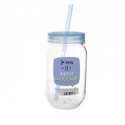 Mason Jar en Plastique 50cl Je Suis Le Petit Chouchou Bleu
