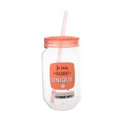 Mason Jar en Plastique 50cl Je Suis Vraiment Unique Orange