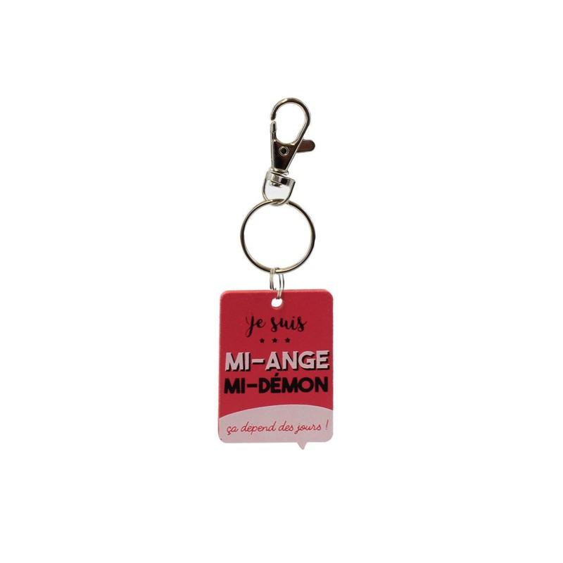 Porte-clés en Bois Je Suis Mi-Ange Mi-Démon Rouge