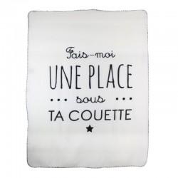 Plaid Polaire 120x150cm Fais-Moi Une Place Blanc
