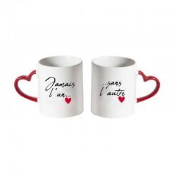 Coffret 2 Mugs avec Poignée Coeur Jamais L'Un Sans L'Autre