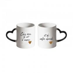 Coffret 2 Mugs avec Poignée Coeur Amour et Cafés Chauds