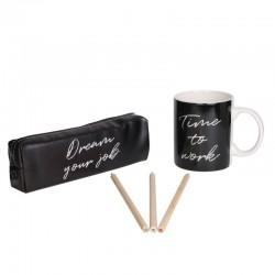 Coffret Mug et Trousse Noir - Happy Working