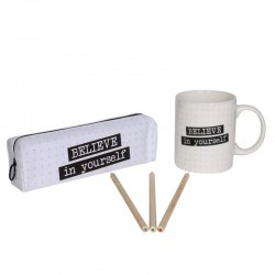 Coffret Mug et Trousse Blanc - Happy Working