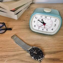 Horloge-réveil vintage avec alarme Bleu