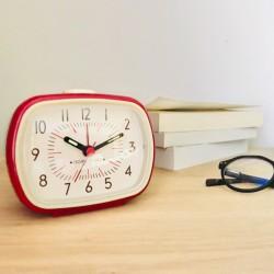 Horloge-réveil vintage avec alarme Rouge