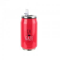 Canette Isotherme 220 ml avec Paille Ca Gaze Rouge