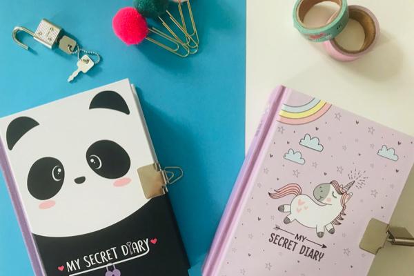 journal intime avec cadenas licorne ou panda