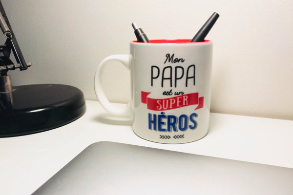mug en céramique mon papa est un super héros