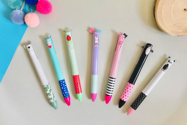 stylos bille deux couleurs animaux